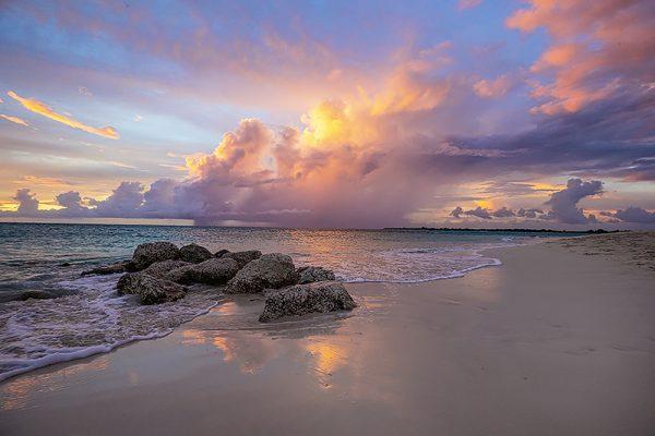 Leeward beach during sunset